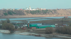 View at Abalak Znamensky monastery and fish plant - stock footage