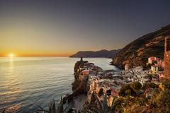 Vernazza village, aerial view on red sunset. Cinque Terre, Ligury, Italy Stock Photos