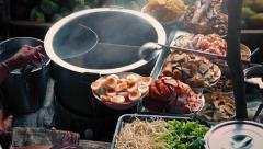 Spread Of Delicious Food On River Boat Stock Footage