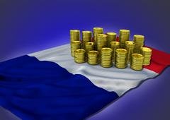 French economy concept with national flag and golden coins Stock Illustration