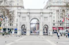 Defocused background of Marble Arch in London, UK - stock photo