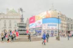 Defocused background of Piccadilly Circus in London - stock photo