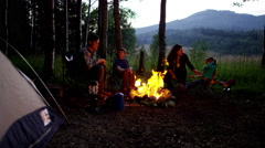 American Caucasian family making campfire in wilderness on holiday outdoor - stock footage