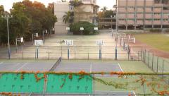 Basketball field, many boards on each side of playground Stock Footage