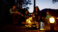Happy American Caucasian family toasting smores on vacation outdoors - stock footage