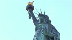 Statue of Liberty close up on face and torch 4k Stock Footage