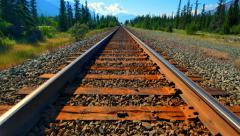 4K Perspective Shot of Railroad Train Track Steel Rails, Ties and Gravel Stock Footage