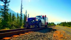 4K Hi-Rail, Road Rail Vehicle, Railroad Maintenance Truck Stock Footage