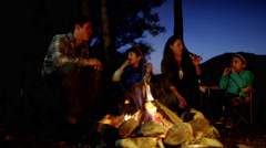 American family toasting and eating smores in forest on holiday outdoors - stock footage