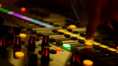 Audio mixer in a live concert Stock Footage
