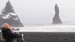 Woman enjoying beauty of Atlantic ocean. Full HD Video Stock Footage