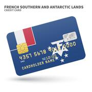 Credit card with French Southern and Antarctic Lands flag background for bank Stock Illustration