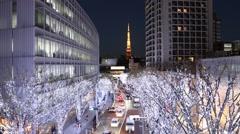 Time Lapse Roppongi Hills Christmas illumination Stock Footage