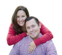 Attractive Happy Caucasian Couple Portrait Isolated on a White Background. Stock Photos