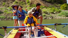 American family having fun adventure trip on Colorado River on holiday outdoor - stock footage
