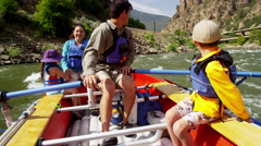 American Caucasian family rafting on Colorado River on Summer holiday outdoors - stock footage