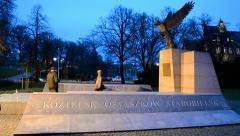 Katyn massacre memorial in Wroclaw (aka Breslau), Poland. - stock footage