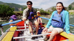 Happy family having fun adventure trip on Colorado River on Summer vacation - stock footage