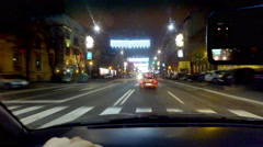 Night Driving Trough City with Christmas decoration Pov steady cam - stock footage