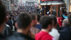Nostalgic tram and crowd beyoglu editorial Stock Footage