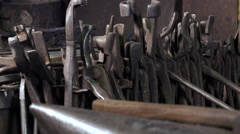 Blacksmith tools in a workshop Stock Footage