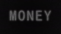 Animation of word money with numbers running Stock Footage