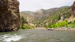 View of wild Colorado River rapids in USA mountain Stock Footage