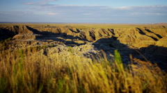 Badlands view of arid desert mountain scenery USA - stock footage