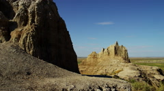 Dakota Badlands view of desert valley Buttes - stock footage