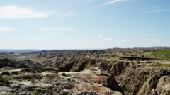 Badlands view of grasslands mountain scenery USA - stock footage