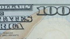 Stock Video Footage of A dolly shot of US hundred dollar bill