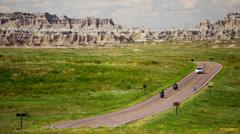 Car driving Dakota Badlands desert Buttes USA - stock footage