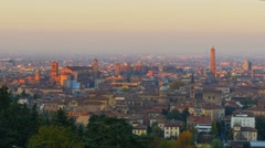 Bologna skyline cityscape at the sunset panorama Stock Footage