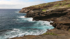 Hawaii, Island Of Oahu Cliffs And Sea, East Oahu Coastline, Lanai Lookout - stock footage
