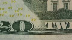 Stock Video Footage of Dolly shot of US twenty dollar bill