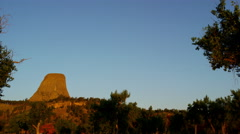 National Monument the Devils Tower famous for mountain climbing USA - stock footage