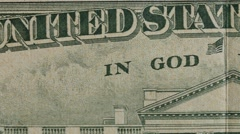 Stock Video Footage of In God We Trust on a US twenty dollar bill fast dolly
