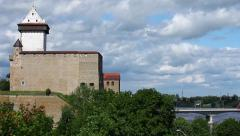 Narva castle panorama Stock Footage
