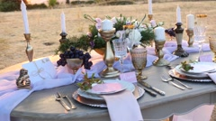 Decorated for wedding elegant dinner table Stock Footage