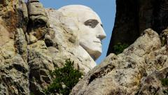 View of stone carved Presidents Mount Rushmore USA Stock Footage