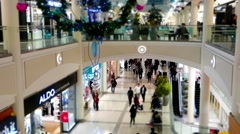 Top shot of people shopping inside Burnaby shopping mall - stock footage