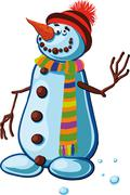 Stock Illustration of snowman with silly smile