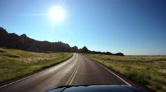 POV driving Badlands South Dakota USA Stock Footage