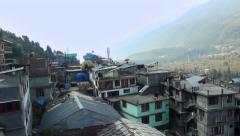 Village of Vashisht  in Himalayan region Uttar Pradesh aerial still shot Stock Footage