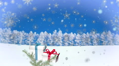 3D Snowflakes Falling on Christmas background  Stock Footage
