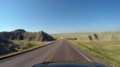 POV driving Badlands South Dakota USA - stock footage