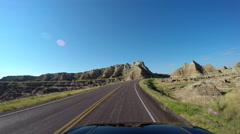 POV driving Badlands South Dakota USA Stock Footage