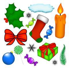 Christmas vector symbol set, icon  design. Winter illustration isolated on wh - stock illustration