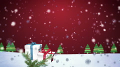 Stock Video Footage of 3D Snowflakes Falling on Christmas background