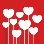 white hearts on red background - stock illustration